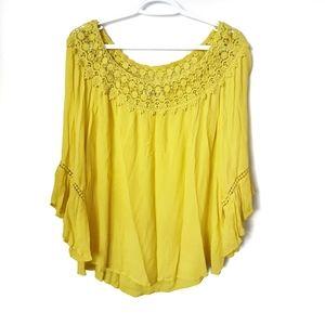 JohnPaulRichard Yellow Bell Sleeve Blouse